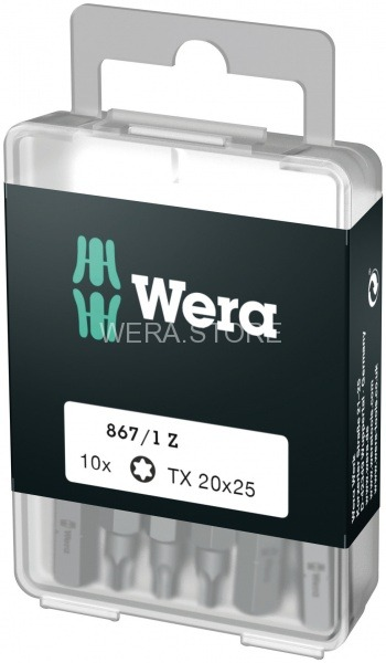 Набор бит WERA 867/1 DIY TORX, TX 20 x 25 mm (10 шт.) WE-072408